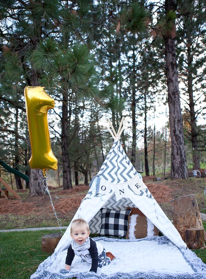1st Birthday Photo Shoot from a Rustic Camping First Birthday Party on Kara's Party Ideas | KarasPartyIdeas.com (6)