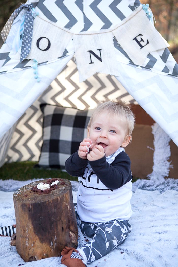1st Birthday Photo Shoot from a Rustic Camping First Birthday Party on Kara's Party Ideas | KarasPartyIdeas.com (5)