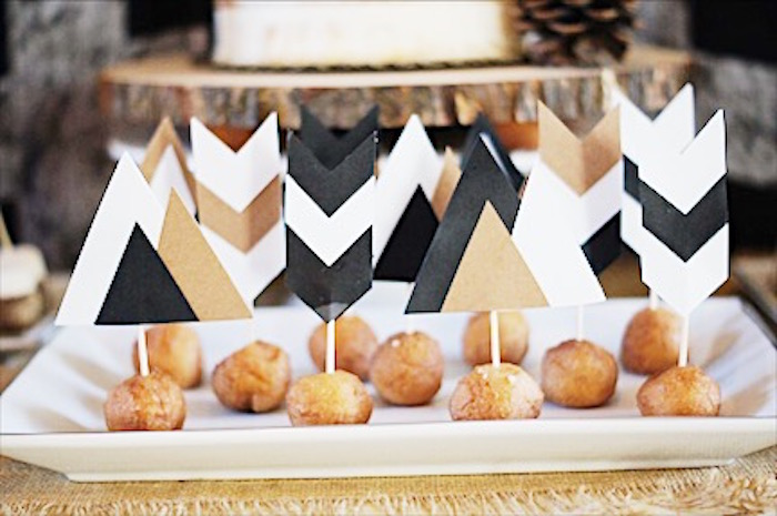 Tribal doughnut holes from a Rustic Camping First Birthday Party on Kara's Party Ideas | KarasPartyIdeas.com (28)