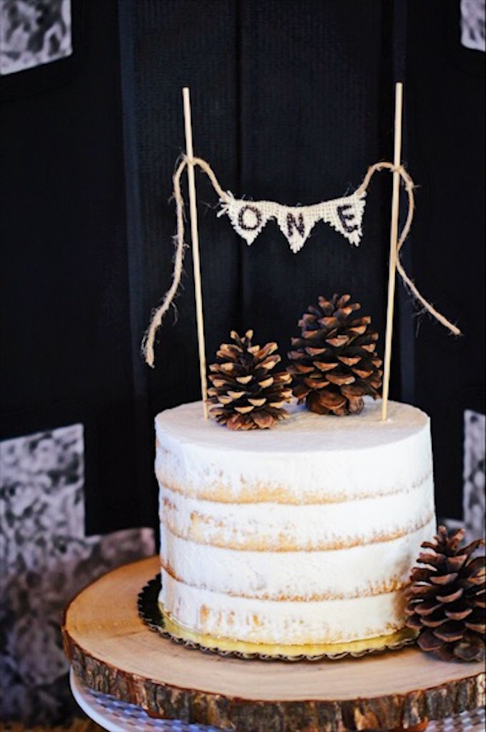 Pine cone birthday cake from a Rustic Camping First Birthday Party on Kara's Party Ideas | KarasPartyIdeas.com (26)