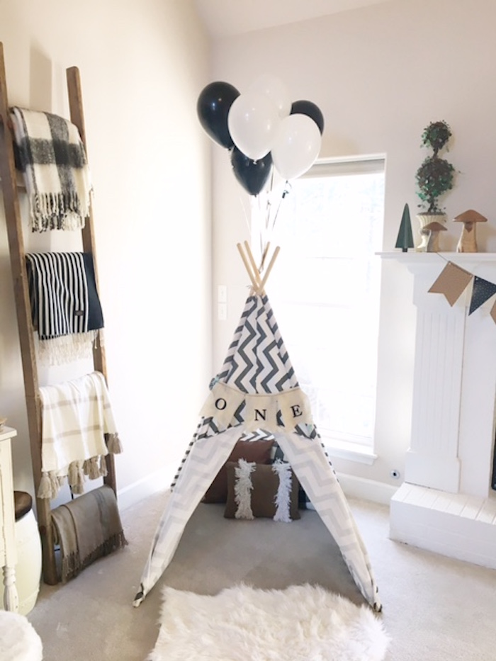 Teepee from a Rustic Camping First Birthday Party on Kara's Party Ideas | KarasPartyIdeas.com (25)
