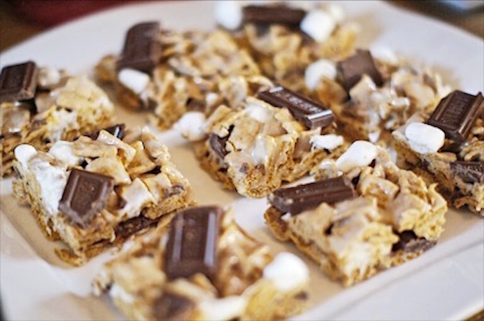 S'more Rice Krispies from a Rustic Camping First Birthday Party on Kara's Party Ideas | KarasPartyIdeas.com (24)