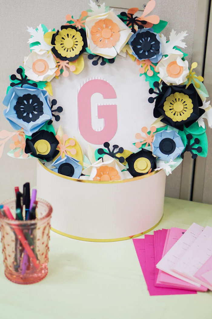 Paper flower box from a Spring Inspired 1st Birthday Party on Kara's Party Ideas | KarasPartyIdeas.com (16)