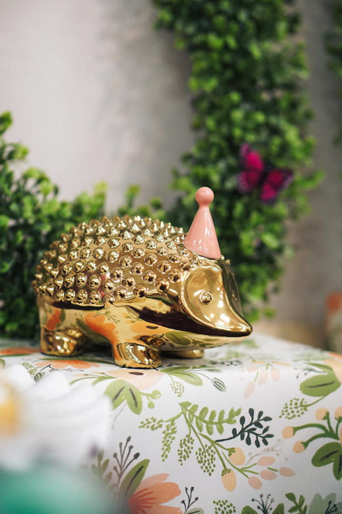 Gold hedgehog from a Spring Inspired 1st Birthday Party on Kara's Party Ideas | KarasPartyIdeas.com (14)