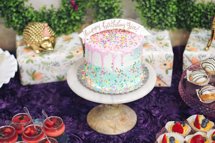 Confetti drip cake from a Spring Inspired 1st Birthday Party on Kara's Party Ideas | KarasPartyIdeas.com (8)