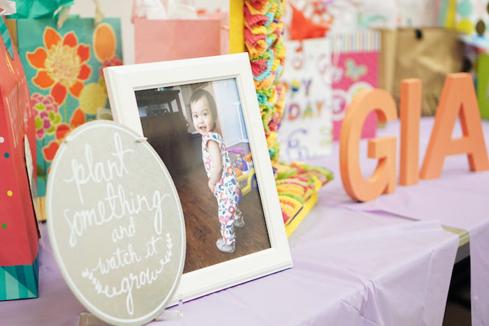 """Plant something and watch it grow"" party signage from a Spring Inspired 1st Birthday Party on Kara's Party Ideas 