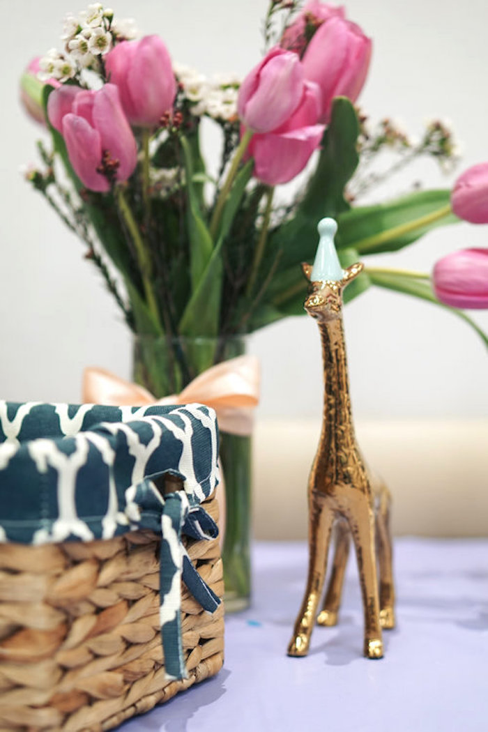 Gold giraffe & blooms from a Spring Inspired 1st Birthday Party on Kara's Party Ideas | KarasPartyIdeas.com (25)