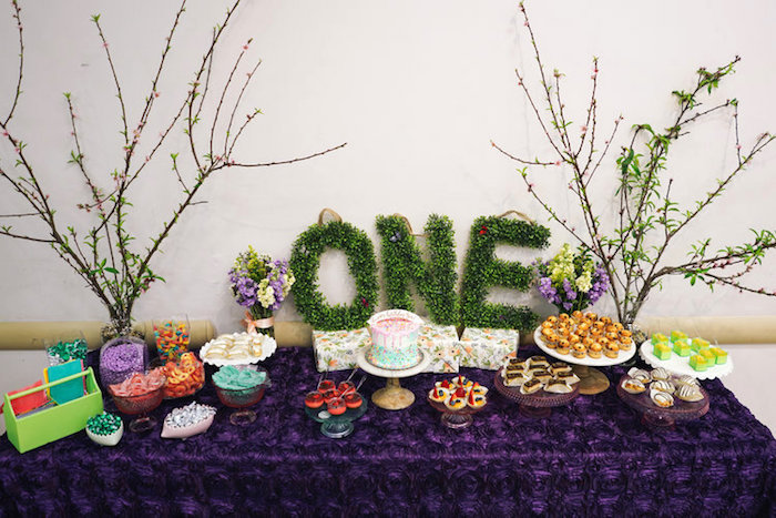 Dessert table from a Spring Inspired 1st Birthday Party on Kara's Party Ideas | KarasPartyIdeas.com (6)