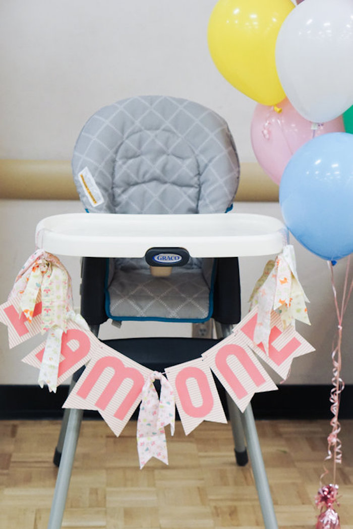 High chair banner from a Spring Inspired 1st Birthday Party on Kara's Party Ideas | KarasPartyIdeas.com (22)