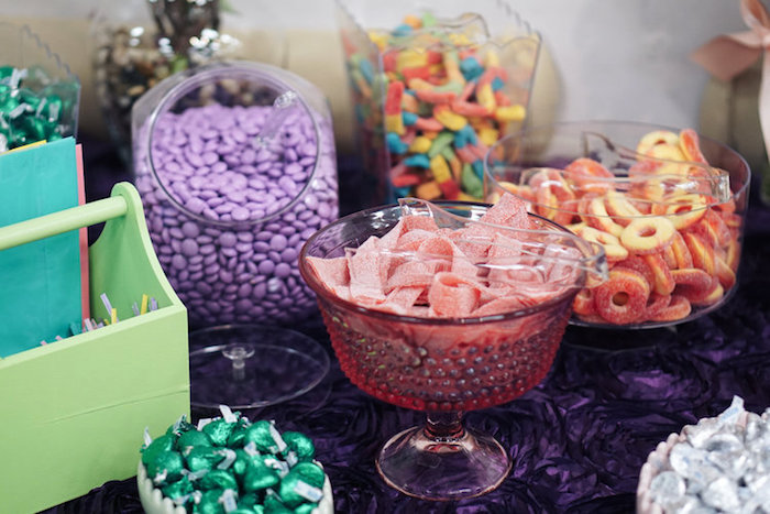 Candy buffet from a Spring Inspired 1st Birthday Party on Kara's Party Ideas | KarasPartyIdeas.com (21)