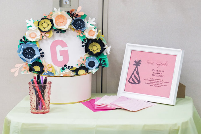 Time capsule from a Spring Inspired 1st Birthday Party on Kara's Party Ideas | KarasPartyIdeas.com (17)