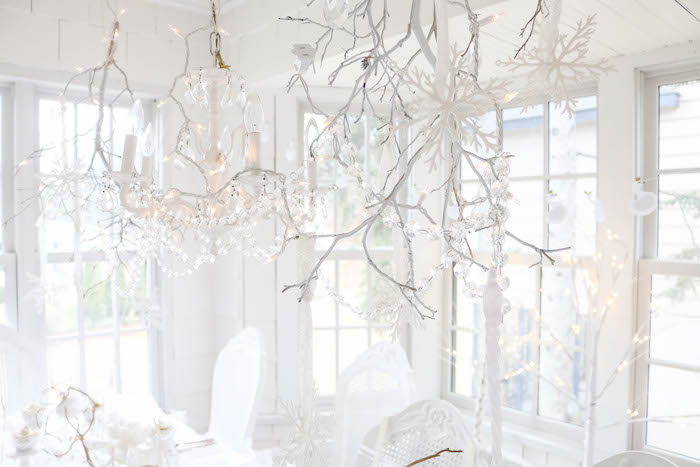 Twig chandelier from a Swan Lake Birthday Party on Kara's Party Ideas | KarasPartyIdeas.com (35)