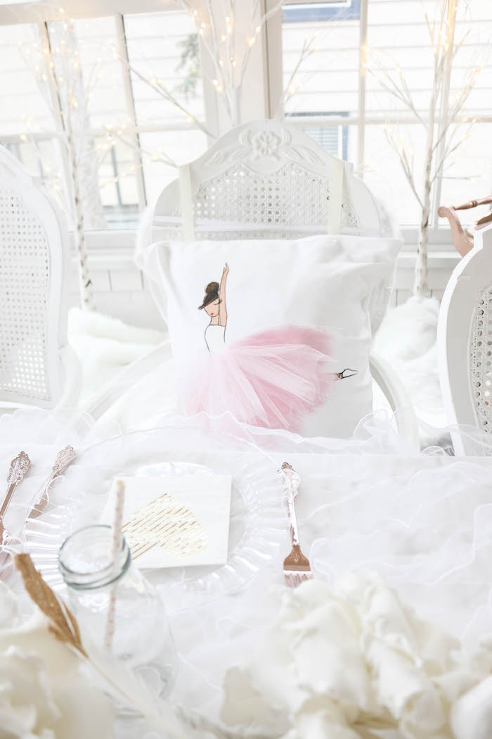 Plush pillow place setting from a Swan Lake Birthday Party on Kara's Party Ideas | KarasPartyIdeas.com (24)