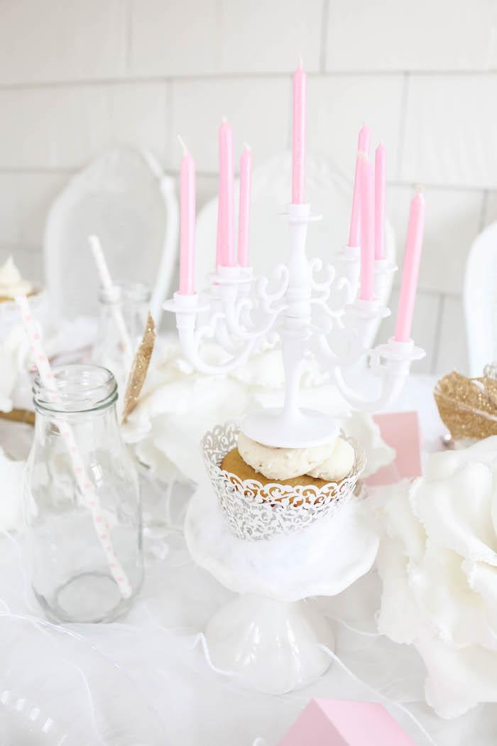 White mini candleabra atop a cupcake from a Swan Lake Birthday Party on Kara's Party Ideas | KarasPartyIdeas.com (23)