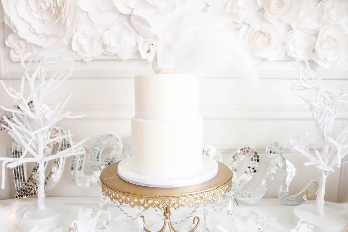 Cake from a Swan Lake Birthday Party on Kara's Party Ideas | KarasPartyIdeas.com (22)