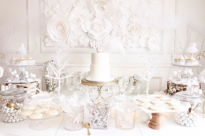 Dessert tablescape from a Swan Lake Birthday Party on Kara's Party Ideas | KarasPartyIdeas.com (21)