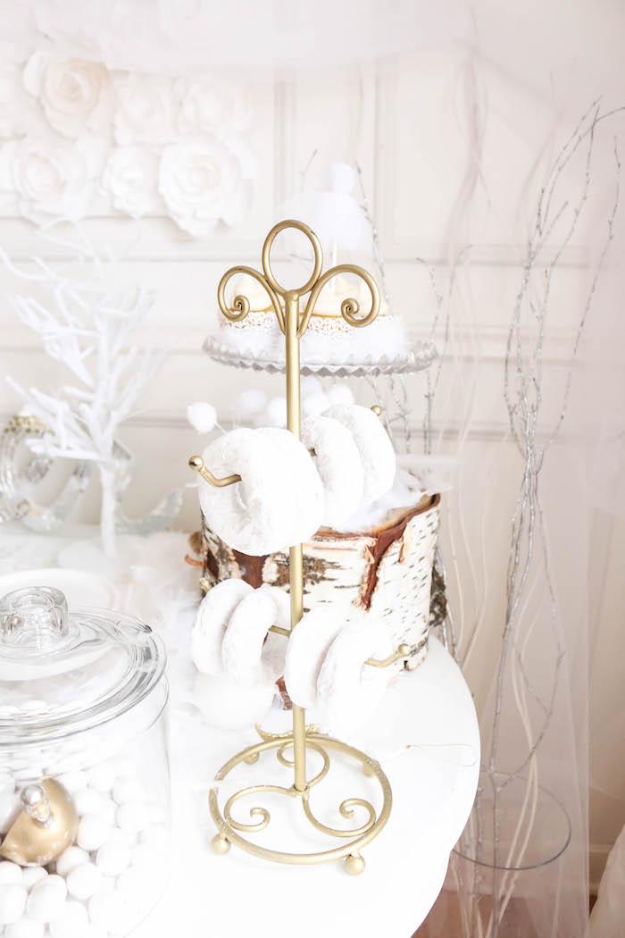 Rack of mini powdered doughnuts from a Swan Lake Birthday Party on Kara's Party Ideas | KarasPartyIdeas.com (18)