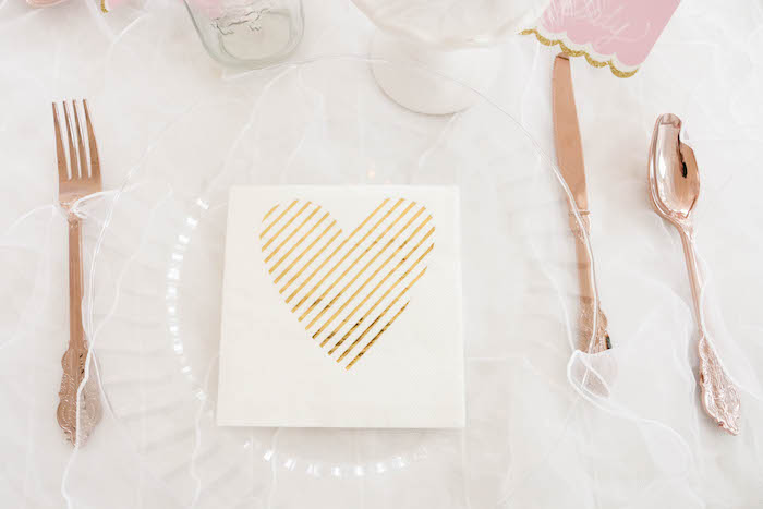 Place setting featuring rose gold flatware from a Swan Lake Birthday Party on Kara's Party Ideas | KarasPartyIdeas.com (41)