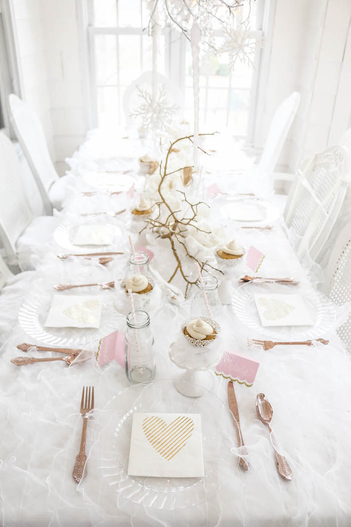 Guest tablescape from a Swan Lake Birthday Party on Kara's Party Ideas | KarasPartyIdeas.com (38)