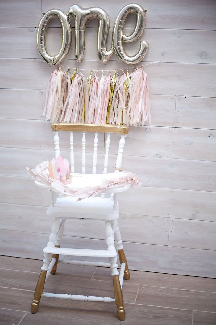 Feathered highchair from a Sweet Swan Birthday Party on Kara's Party Ideas | KarasPartyIdeas.com (36)
