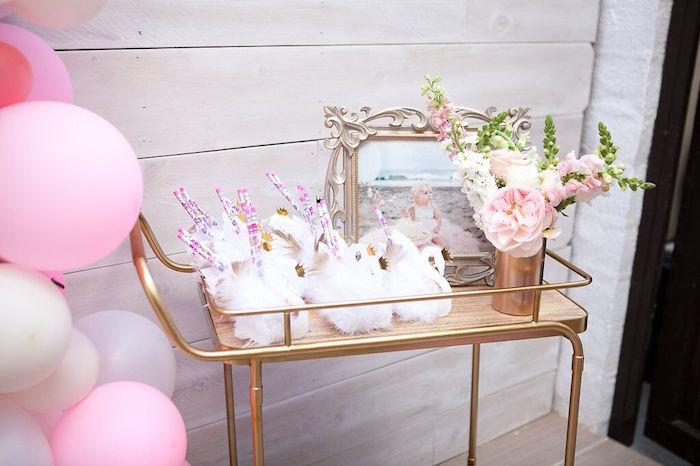 Favor cart from a Sweet Swan Birthday Party on Kara's Party Ideas | KarasPartyIdeas.com (32)
