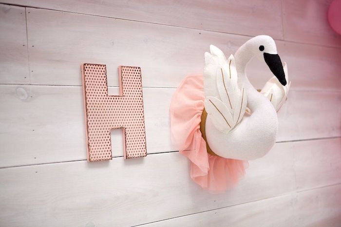 Swan and letter wall decor from a Sweet Swan Birthday Party on Kara's Party Ideas | KarasPartyIdeas.com (31)