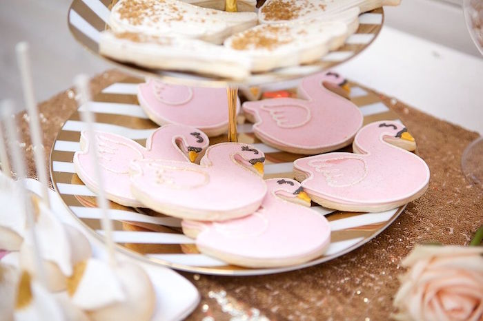Swan sugar cookies from a Sweet Swan Birthday Party on Kara's Party Ideas | KarasPartyIdeas.com (29)