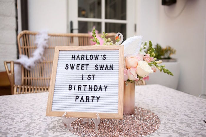 Letter board from a Sweet Swan Birthday Party on Kara's Party Ideas | KarasPartyIdeas.com (28)