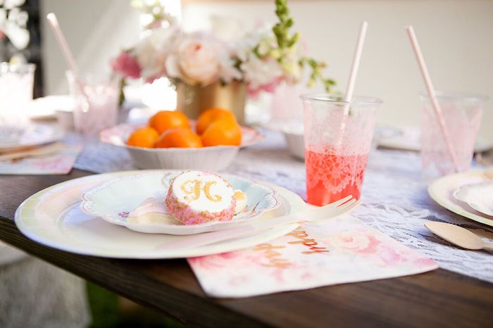 Lace printed plastic cup from a Sweet Swan Birthday Party on Kara's Party Ideas | KarasPartyIdeas.com (26)