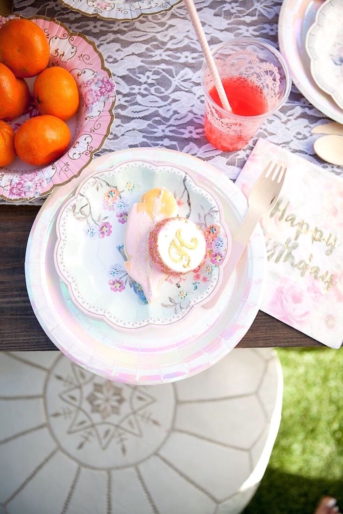 Floral iridescent partyware from a Sweet Swan Birthday Party on Kara's Party Ideas | KarasPartyIdeas.com (25)