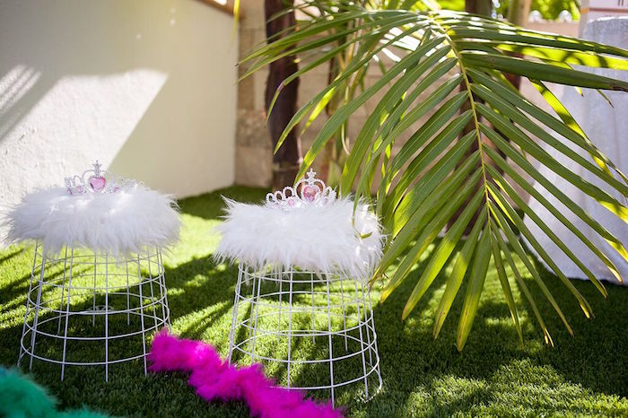 Crowns and feather boas from a Sweet Swan Birthday Party on Kara's Party Ideas | KarasPartyIdeas.com (22)