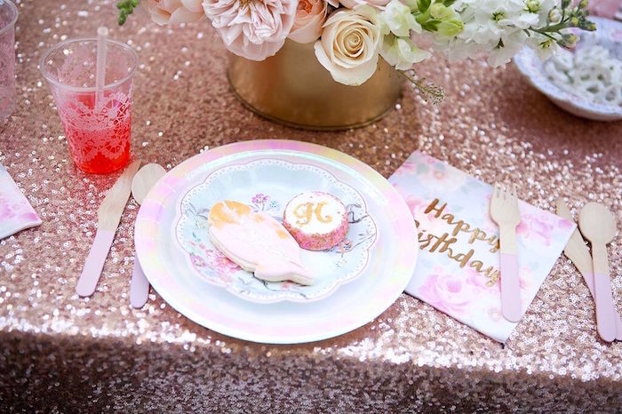 Iridescent floral place setting from a Sweet Swan Birthday Party on Kara's Party Ideas | KarasPartyIdeas.com (21)