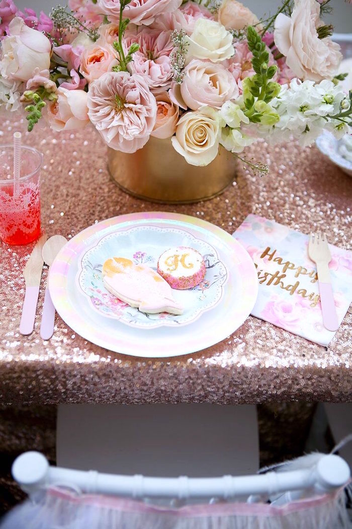 Place setting from a Sweet Swan Birthday Party on Kara's Party Ideas | KarasPartyIdeas.com (20)