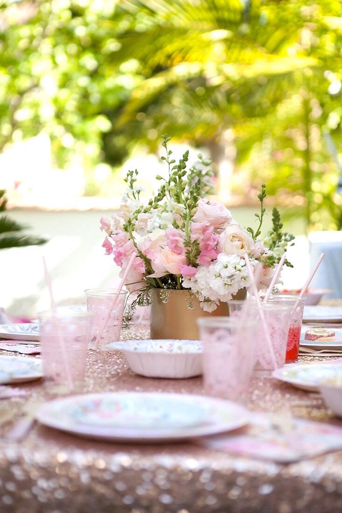 Guest tablescape from a Sweet Swan Birthday Party on Kara's Party Ideas | KarasPartyIdeas.com (19)