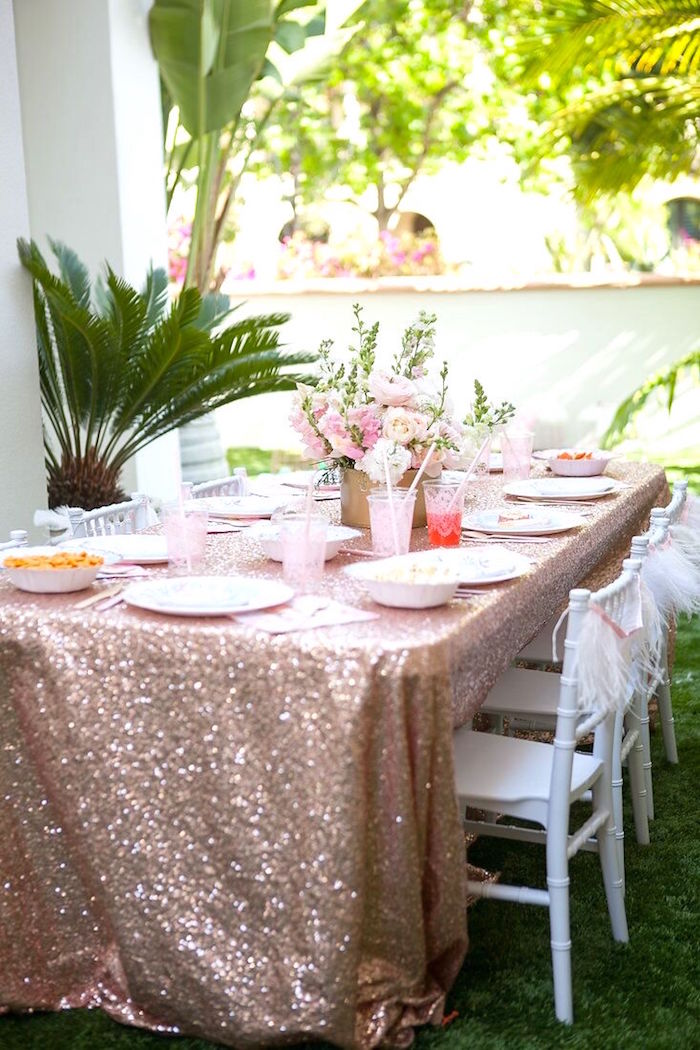 Shimmering guest table from a Sweet Swan Birthday Party on Kara's Party Ideas | KarasPartyIdeas.com (18)