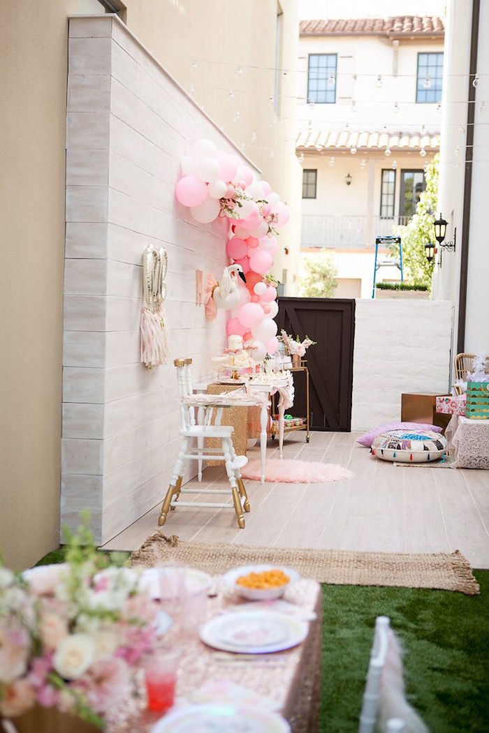 Party backdrop from a Sweet Swan Birthday Party on Kara's Party Ideas | KarasPartyIdeas.com (17)