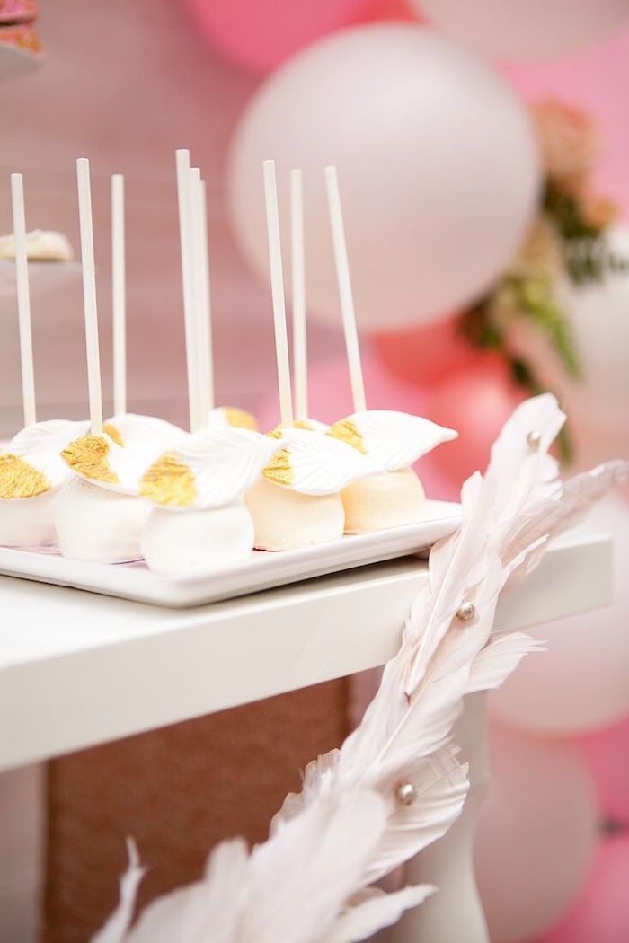 Feathered cake pops from a Sweet Swan Birthday Party on Kara's Party Ideas | KarasPartyIdeas.com (16)