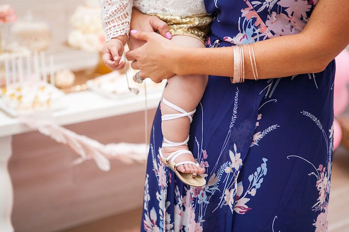 Lace up baby sandals from a Sweet Swan Birthday Party on Kara's Party Ideas | KarasPartyIdeas.com (11)