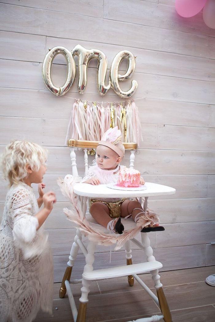Highchair from a Sweet Swan Birthday Party on Kara's Party Ideas | KarasPartyIdeas.com (9)
