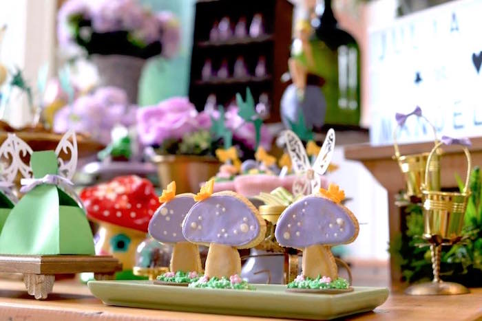 Toadstool cookies from a Tinkerbell Fairy Birthday Party on Kara's Party Ideas | KarasPartyIdeas.com (14)