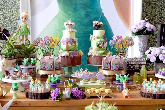 Dessert table from a Tinkerbell Fairy Birthday Party on Kara's Party Ideas | KarasPartyIdeas.com (10)
