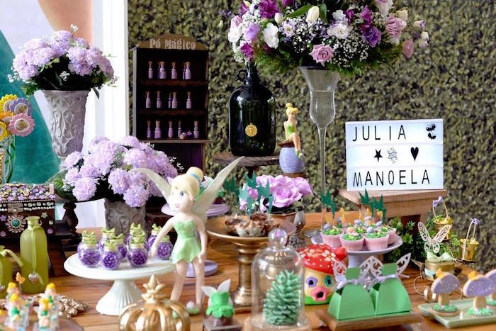 Dessert table decor + sweets from a Tinkerbell Fairy Birthday Party on Kara's Party Ideas | KarasPartyIdeas.com (9)