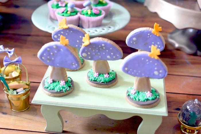3D toadstool cookies from a Tinkerbell Fairy Birthday Party on Kara's Party Ideas | KarasPartyIdeas.com (8)