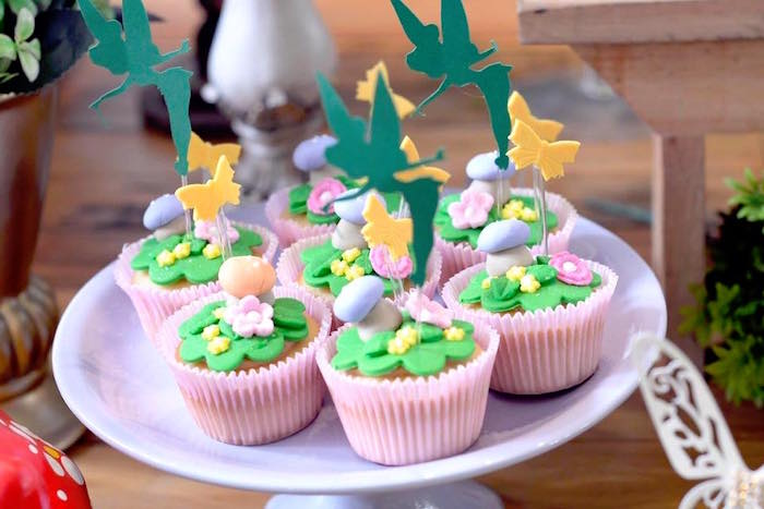 TInkerbell cupcakes from a Tinkerbell Fairy Birthday Party on Kara's Party Ideas | KarasPartyIdeas.com (23)