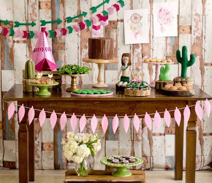 Dessert table from a Tribal Cactus Birthday Party on Kara's Party Ideas | KarasPartyIdeas.com (6)