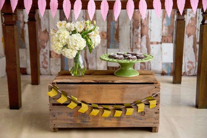 Wooden crate and blooms from a Tribal Cactus Birthday Party on Kara's Party Ideas | KarasPartyIdeas.com (5)