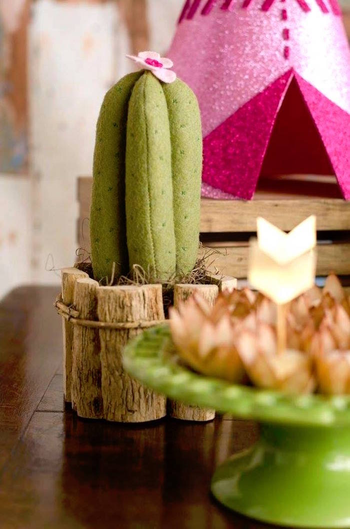Plush cactus from a Tribal Cactus Birthday Party on Kara's Party Ideas | KarasPartyIdeas.com (24)