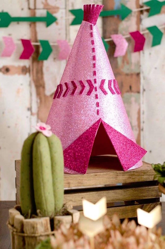 Pink glitter teepee decoration from a Tribal Cactus Birthday Party on Kara's Party Ideas | KarasPartyIdeas.com (23)
