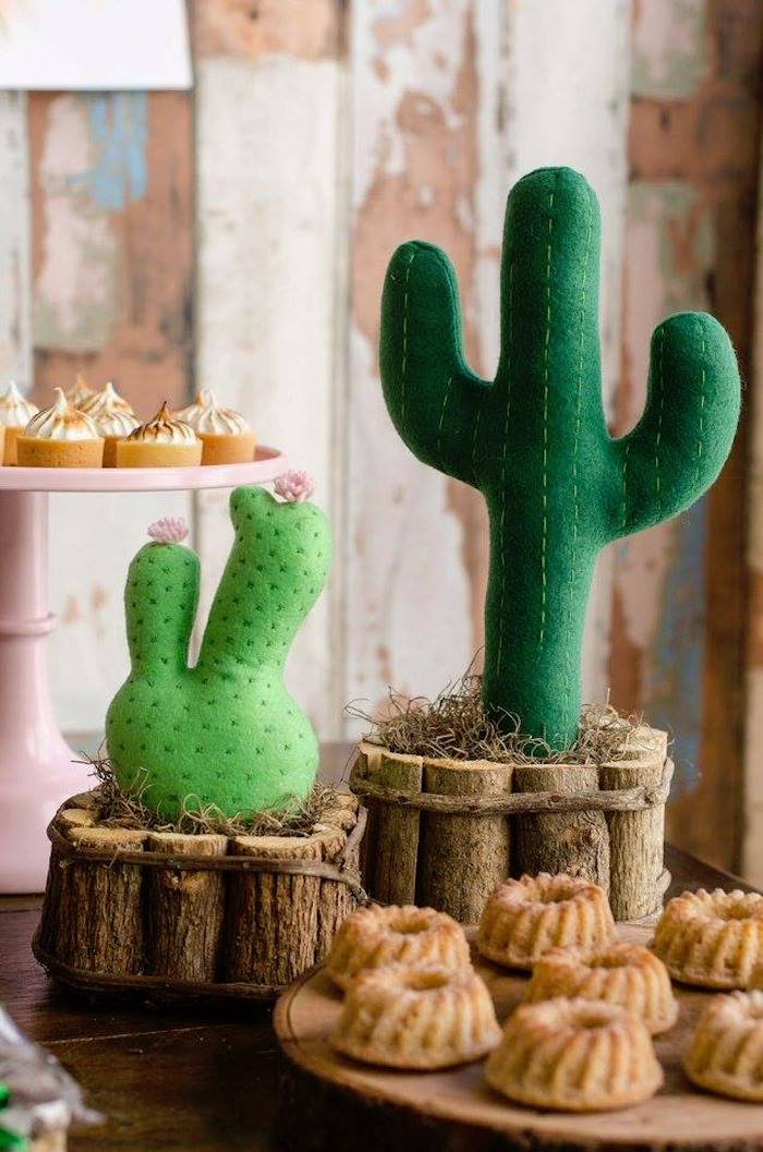 Plush cacti from a Tribal Cactus Birthday Party on Kara's Party Ideas | KarasPartyIdeas.com (21)