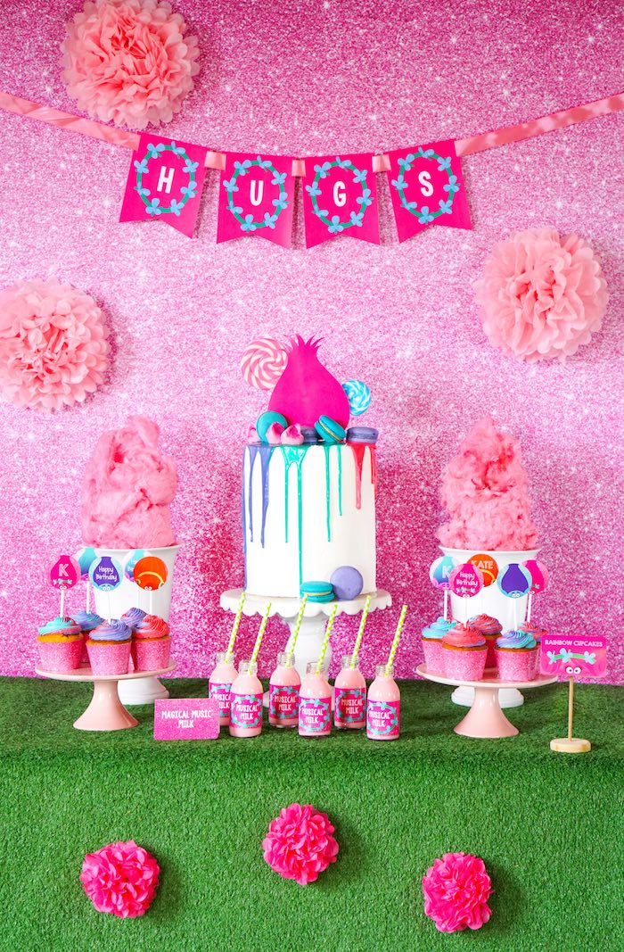Trolls Party Table From A Birthday With FREE Printables On Karas Ideas